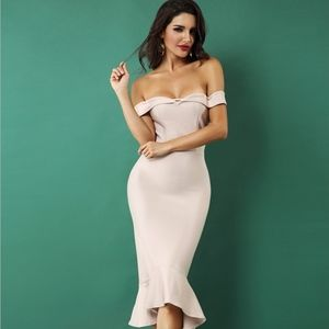 Bandage Off Shoulder Midi Mermaid Dress Blush Nude